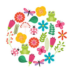 set of spring theme nature flowers love birds butterflies ladybugs frog dragonfly vector illustration