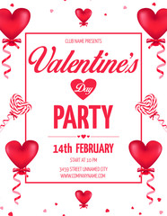 Valentine's Day Day party flyer with red heart shaped ballons and lollipops. Vector illustration.