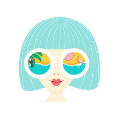 Summer Holiday poster. Face of girl in sunglasses. Vector illustration