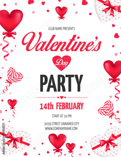 Valentine S Day Day Party Flyer With Red Heart Shaped Ballons And