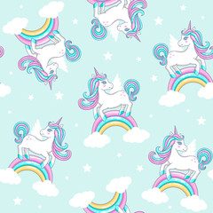 Seamless pattern with cute unicorns. Vector illustration.