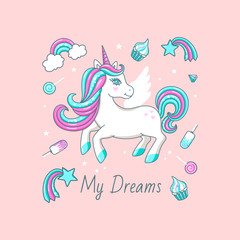 White cute unicorn with inscription - My dreams. For print design. Vector  Illustration