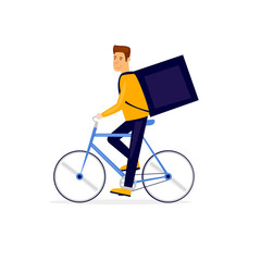 Delivery of food on a bicycle. Flat vector illustration in cartoon style.