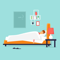 Man is sleeping in the bed. Flat vector illustration in cartoon style.