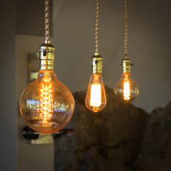 Vintage lighting for decoration in coffee shop