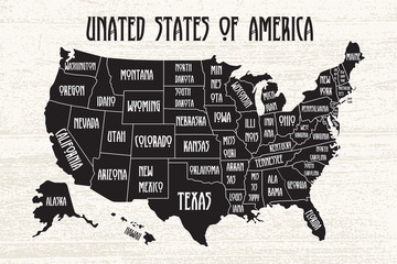 Poster map of United States of America with state names. Black and white print map of USA for t-shirt, poster or geographic themes. Hand-drawn font and black map with states. Algorithm binary, data