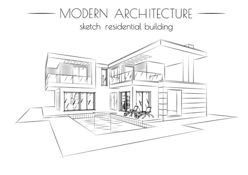 the modern architecture. sketch of houses on a white background