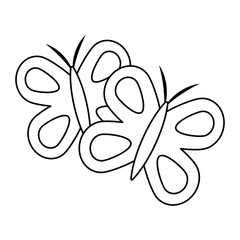 cute butterflies spring animal outline vector illustration outline image
