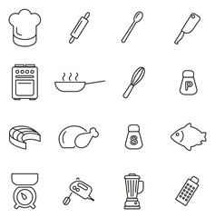 Cooking or Chef Icons Thin Line Vector Illustration Set