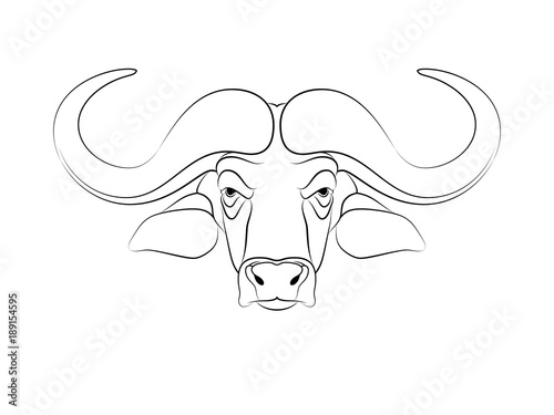 1337d73a6 Graphic print of African buffalo outline. White background.