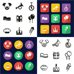 Clown All in One Icons Black & White Color Flat Design Freehand Set