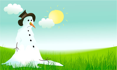 Hello spring background with sad snowman