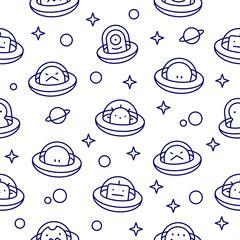 Baby UFO aliens outline style cartoon pattern