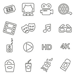 Cinema or Movie Theater Icons Thin Line Vector Illustration Set