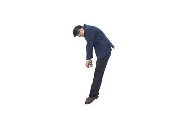 sad asian businessman falling down