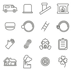 Chimney Sweeper Tools & Equipment Icons Thin Line Vector Illustration Set