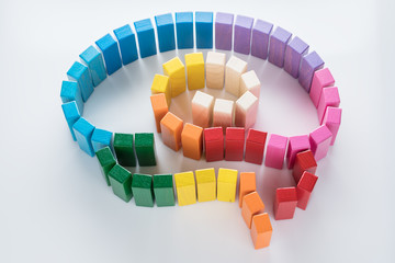 Human brain is made of multi-colored wooden blocks.