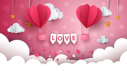 Valentine s Day illustration. Air balloon, cloud, star Vector eps 10
