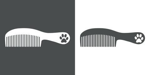 Icono plano peine con mango y huella de gato gris y blanco