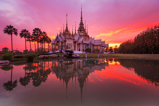 Wat Non-Koom (nonkhum), Beautiful temple in sunset,  Nakhonratchasima province, Thailand