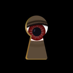 Red eyes in the keyhole. Monster peek vector illustration. Scary Halloween.