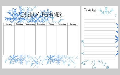 Hand drawing vector weekly planner with snowflakes.