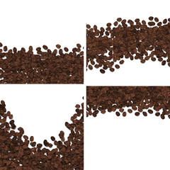 Roasted coffee beans isolated on white background vector set