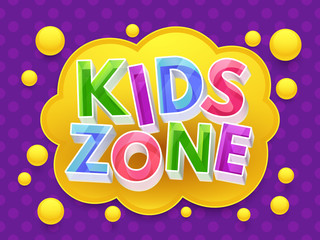 Kids zone graphic vector banner for childrens playroom