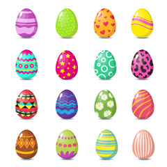 Cartoon happy easter cute eggs vector set