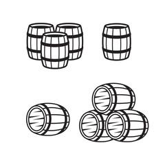 Wooden barrel line icons set