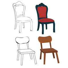 vector, isolated sketch chair and chair