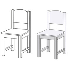vector, isolated sketch chair and white chair