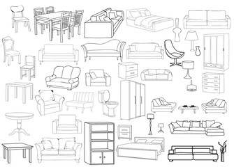 vector, isolated sketch set of furniture, sofas, beds, armchairs