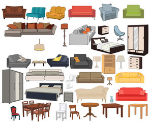 vector, isolated furniture set, sofas, beds, armchairs