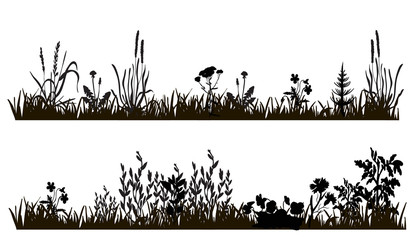 vector isolated silhouette of grass and plants, isolated on white background