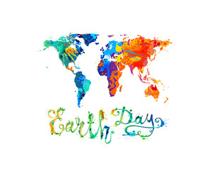 EARTH DAY. Splash paint vector