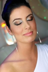 Closeup portrait of beautiful face with make up