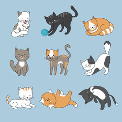 Hand drawing cute cats. Vector kitty collection