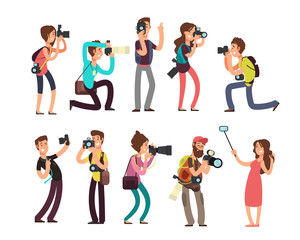 Funny professional photographer with camera taking photo in different poses vector cartoon characters set