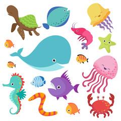 Cartoon childrens aquarium and wild sea fishes vector set