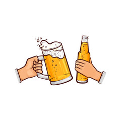 vector cartoon man hands holding full mug of golden lager cool beer with thick white foam and bottle of beer toasting. Ready for your design isolated illustration on a white background.