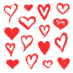 Set of red vector grunge hand drawn hearts. Heart shapes. Design elements for Valentine's day, wedding.