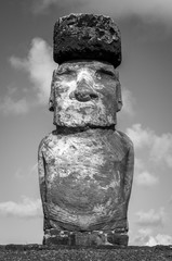 Moai statue, ahu Tongariki, easter island. Black and white picture