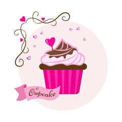 Pink sweet dessert. Festive cupcake with chocolate and heart for Valentine's Day. Vector illustration