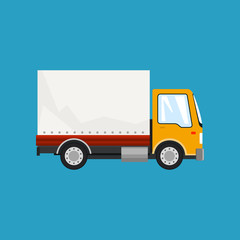 Orange White Small Cargo Truck on Blue Background , Transportation and Delivery Services, Logistics , Shipping and Freight of Goods, Vector Illustration