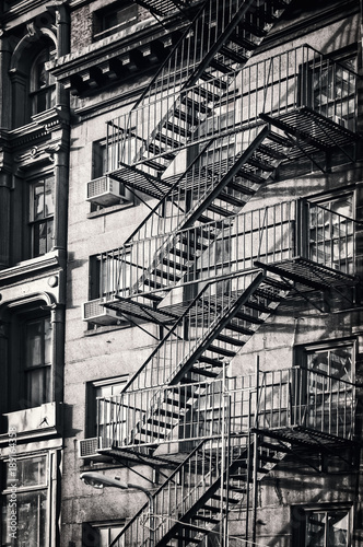 Outside Metal Fire Escape Stairs New York City Black And White