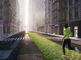 woman jogging alone in the streets of city on a green lawn arrow. 3d rendering