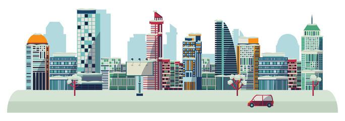 Vector flat urban horizontal landscape background design template. Illustration building skyscaper business office apartment, construction architecture, residental cottage ,car streetlight billboard