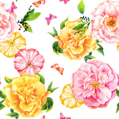 Seamless pattern with watercolor roses and butterflies on white