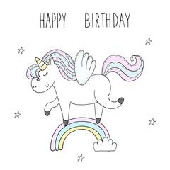 Cute unicorn print for kids. happy birthday card